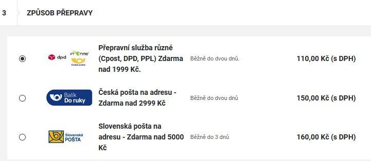 Doprava zboží - Profirybar.cz